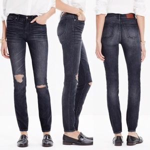 Madewell High Riser Skinny Dark Distressed Jeans